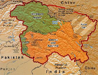 China india tensions rise over pakistan and kashmir commercial disputed kashmir region map between china india and pakistan gumiabroncs Gallery